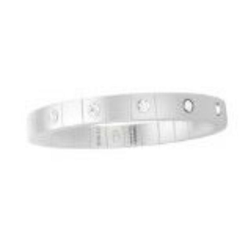 White Ceramic Stretch Bracelet with 5 Diamond Bezel
