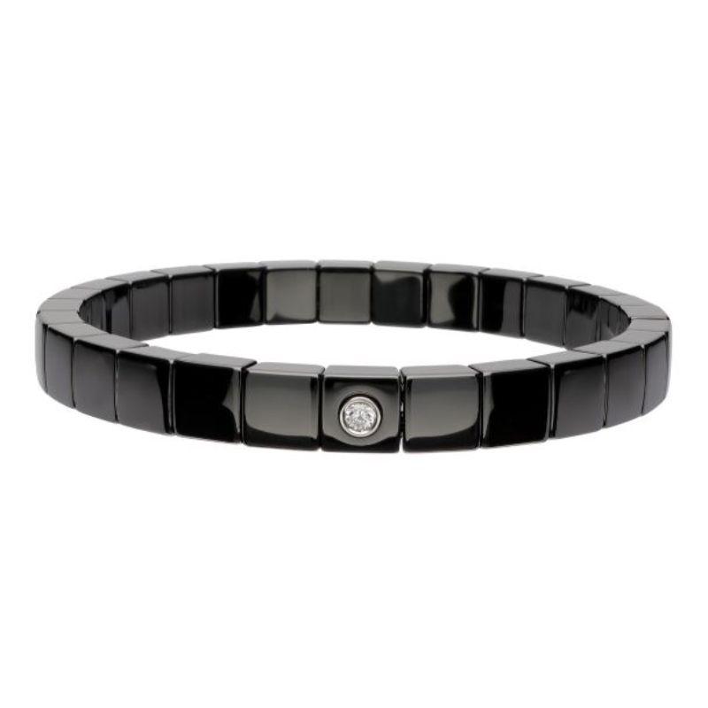 Black Ceramic Stretch Bracelet with 1 Diamond Bezel