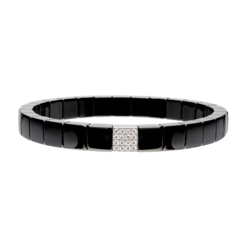 Black Ceramic Stretch Bracelet with 1 Diamond Station