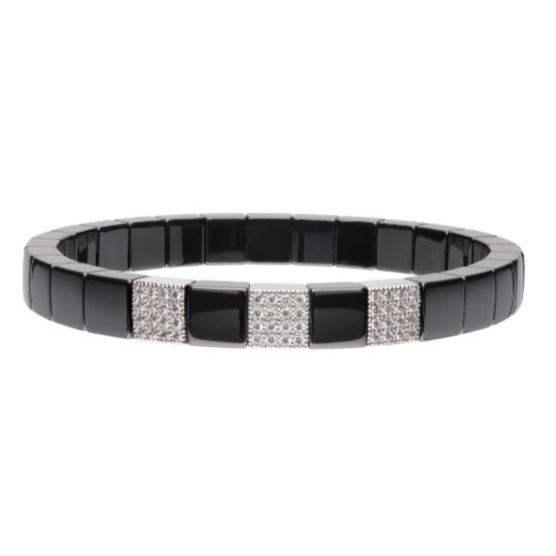 Black Ceramic Stretch Bracelet with 3 Diamond Stations