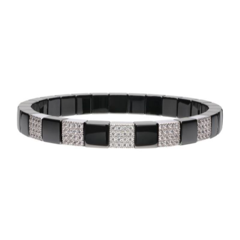Black Ceramic Stretch Bracelet with 5 Diamond Stations