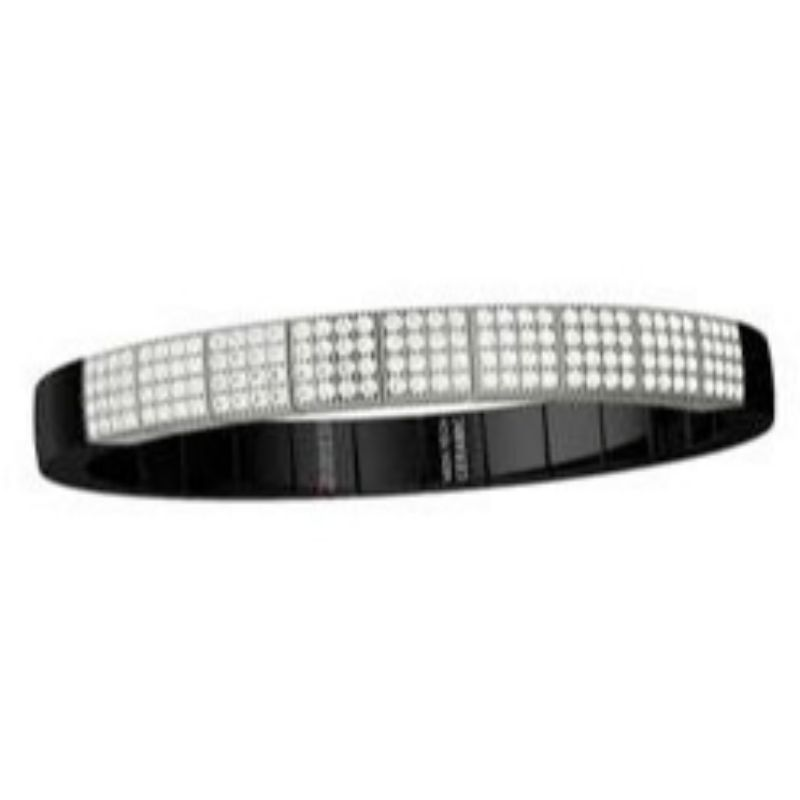 Black Ceramic Stretch Bracelet with 9 Diamond Stations