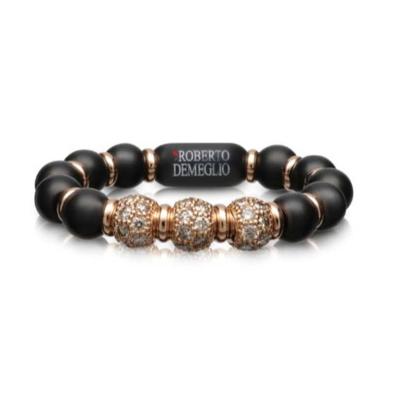 4mm Matte Black Ceramic Stretch Ring with 3 Champagne Diamond Beads and Gold Rodells