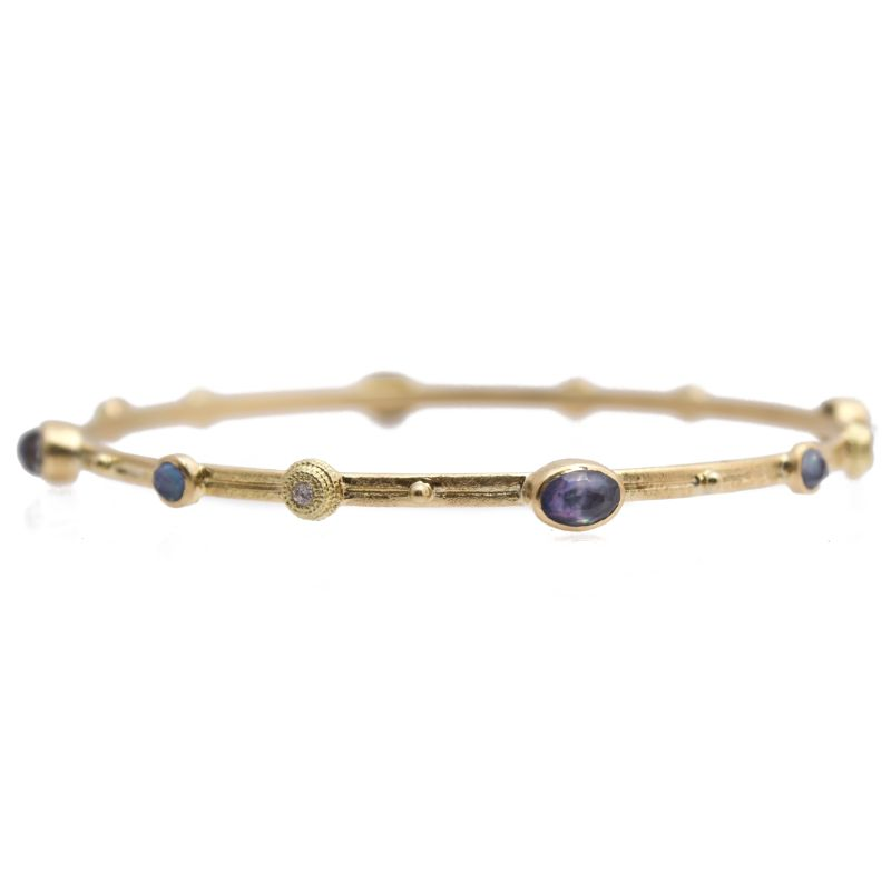 Sueno Bangle Bracelet With Blue Sapphire/Mother Of Pearl/Quartz Triplet Stones And White Diamonds