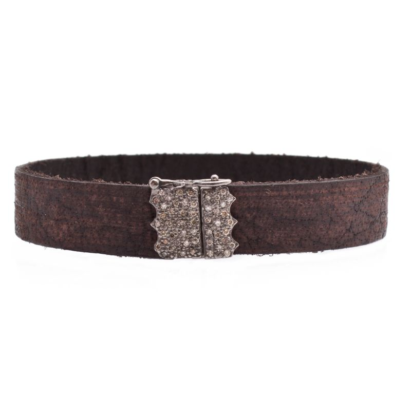 New World Leather Wrap With Pave Clasp Bracelet