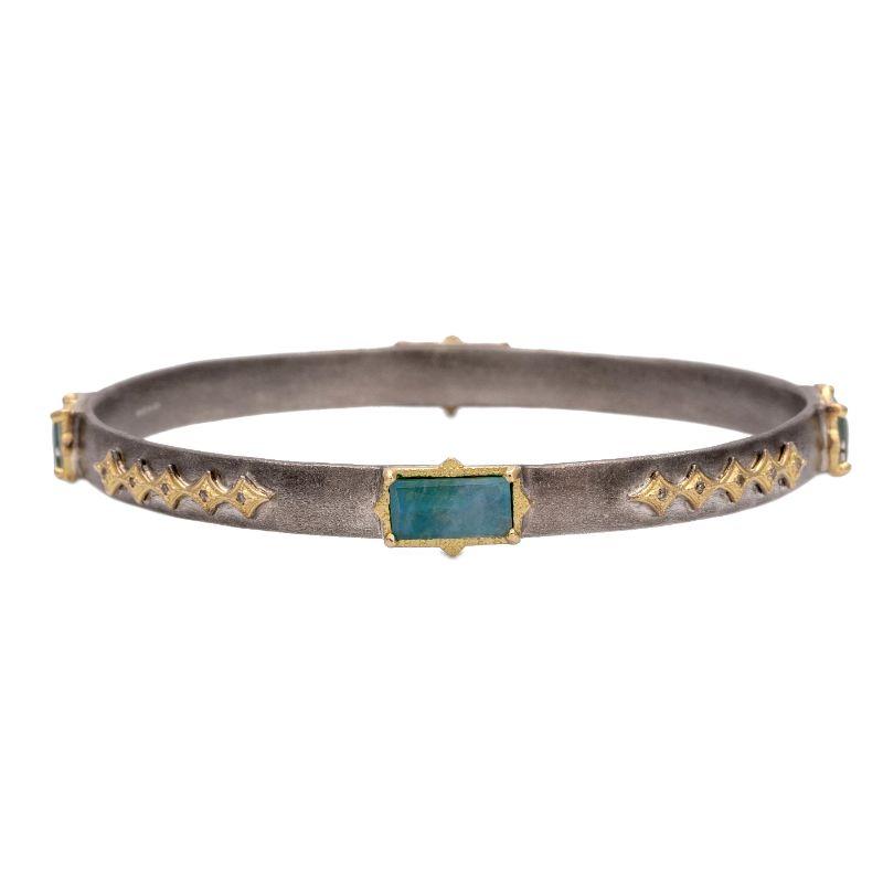 Old World Peruvian Opal/Mother Of Pearl/Quartz Triplet Stones And Champagne Diamonds Crivelli Bracelet