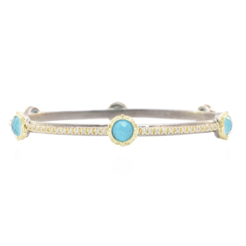 Old World Bangle Bracelet With Turquoise/White Quartz Doublet Stones And Pave White Diamonds