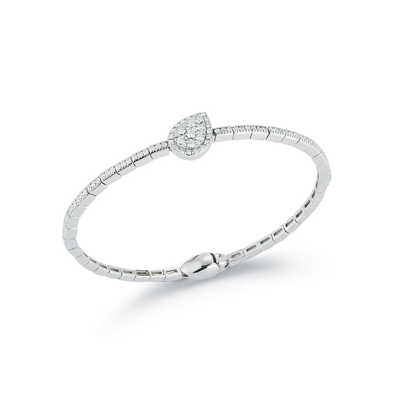 Deutsch Signature Pear-shaped Halo Pave Diamond Bangle