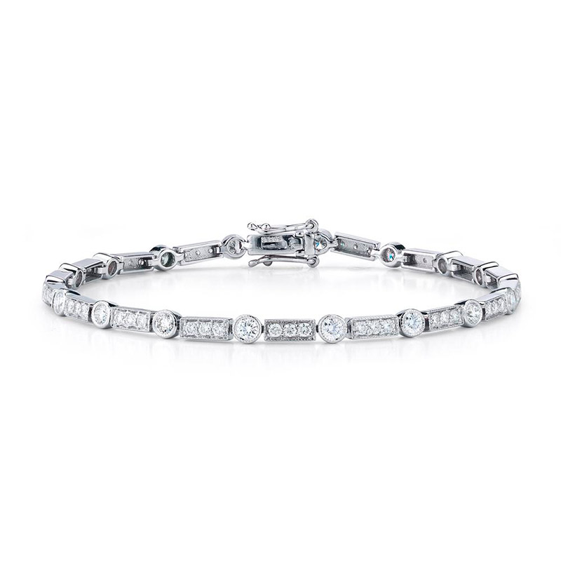 Deutsch Signature Alternating Diamond Bezel and Diamond Bar Bracelet