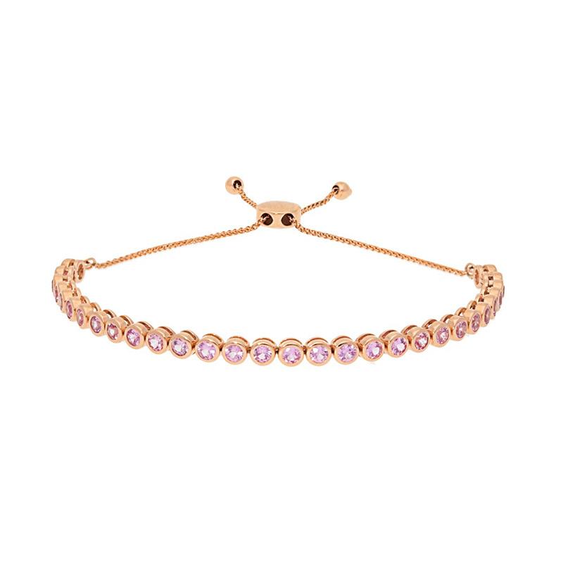 Deutsch Signature Bezel Set Pink Sappire Bolo Bracelet