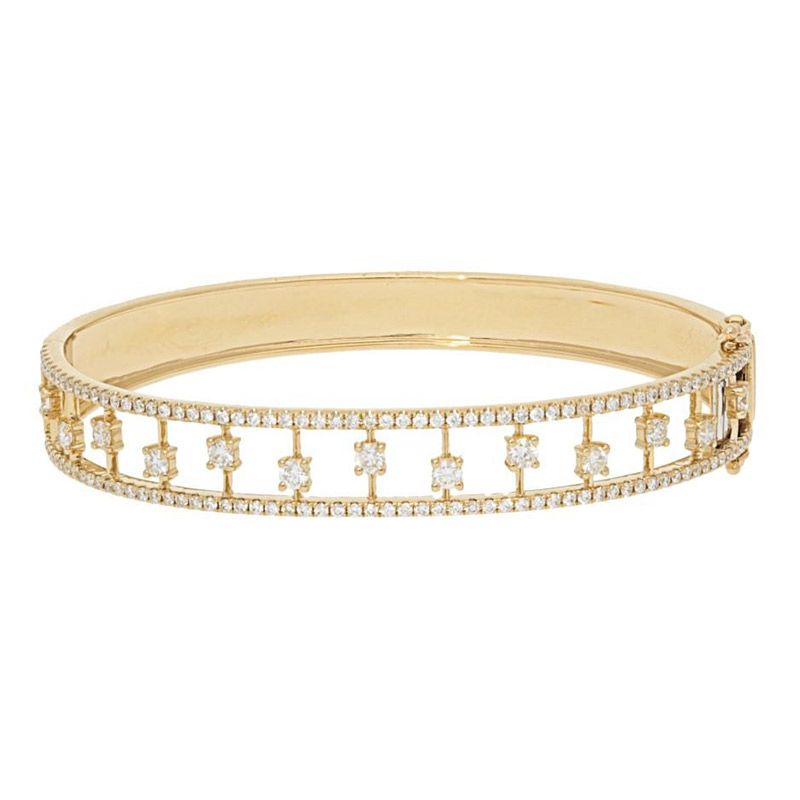 Deutsch Signature 1/2 Way Around 4 Prong Diamonds w/ Diamond  Bangle Border