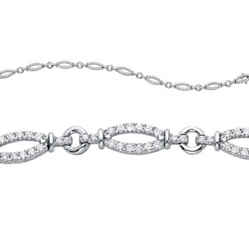 Deutsch Signature Diamond Oval Link Bracelet