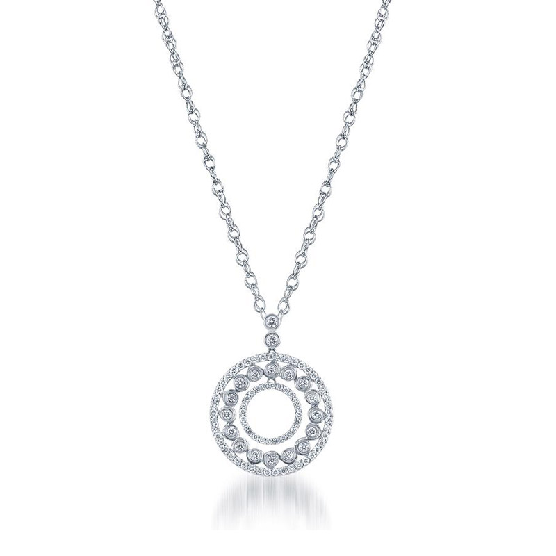 Deutsch Signature 3 Row Diamond Pave and Bezel Circle Pendant