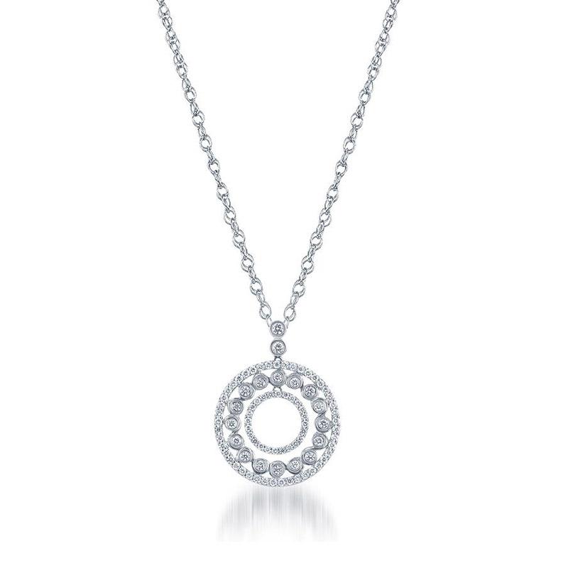 Deutsch Signature 3 Row Diamond Pave and Bezel Circle Pendant