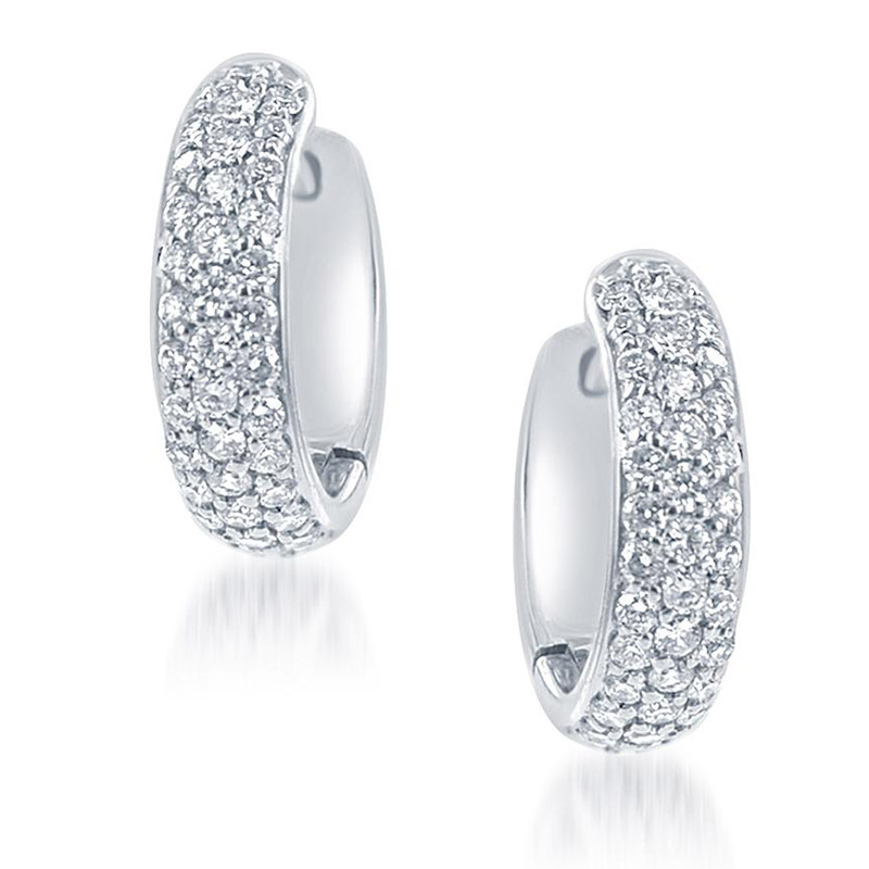 Deutsch Signature Small Pave Diamond Huggie Earrings
