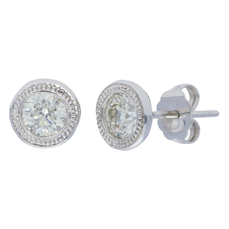 Deutsch Signature Milgrain Bezel Stud Earrings
