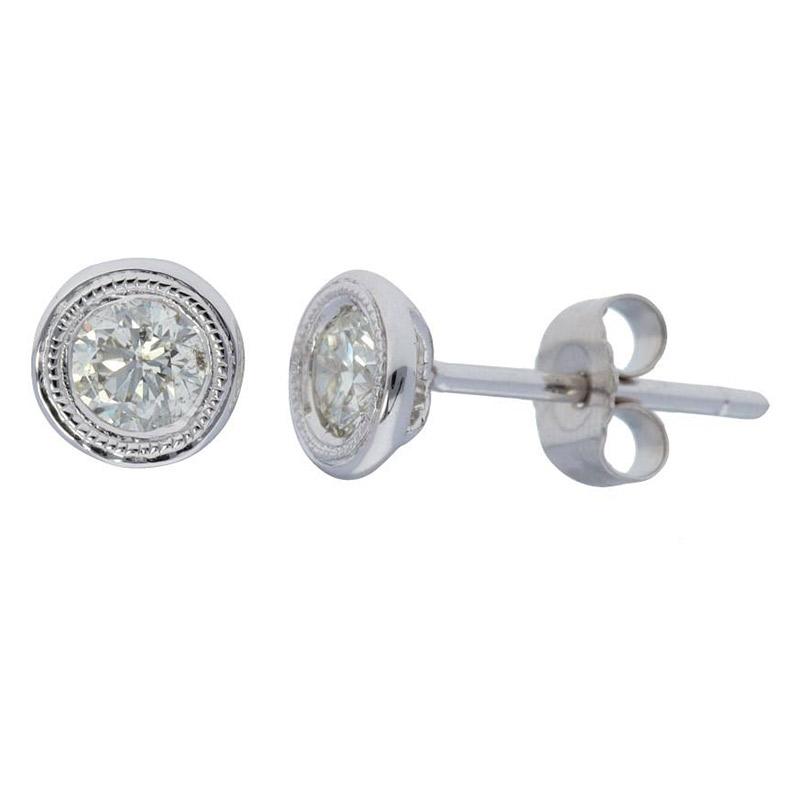 Deutsch Signature Milgrain Bezel Stud Earrings