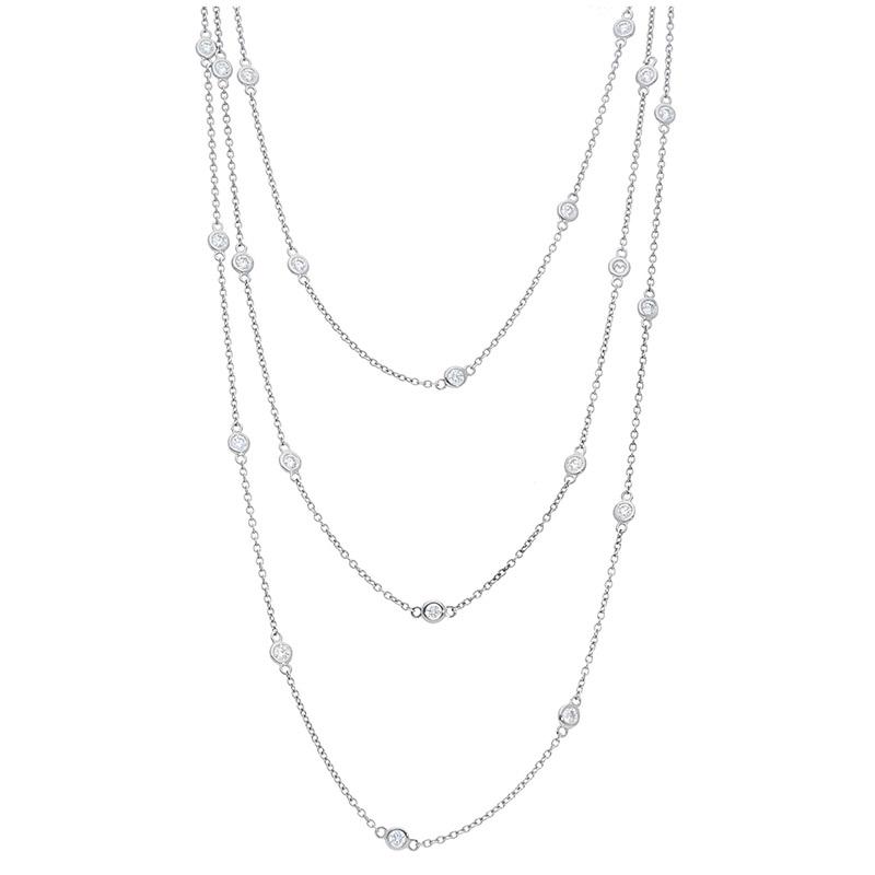 Deutsch Signature Long Polished Bezel Diamonds by the Yard Necklace