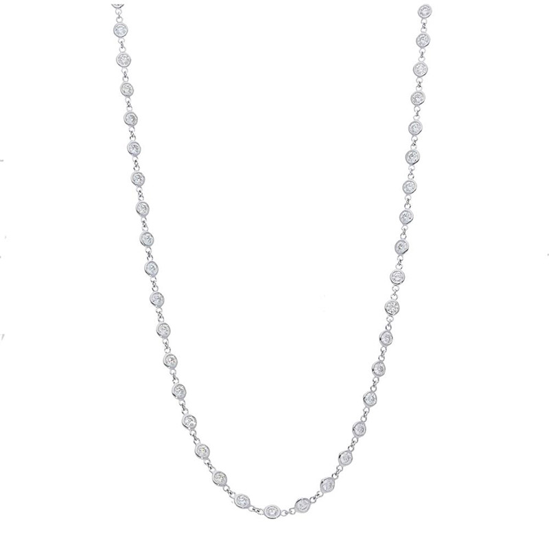 Deutsch Signature All Connected 52 Polished Bezel Diamonds by the Yard Necklace
