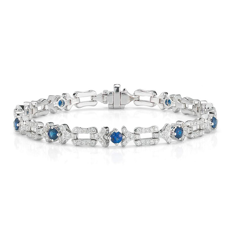 Deutsch Signature Blue Sapphire and Diamond Link Bracelet