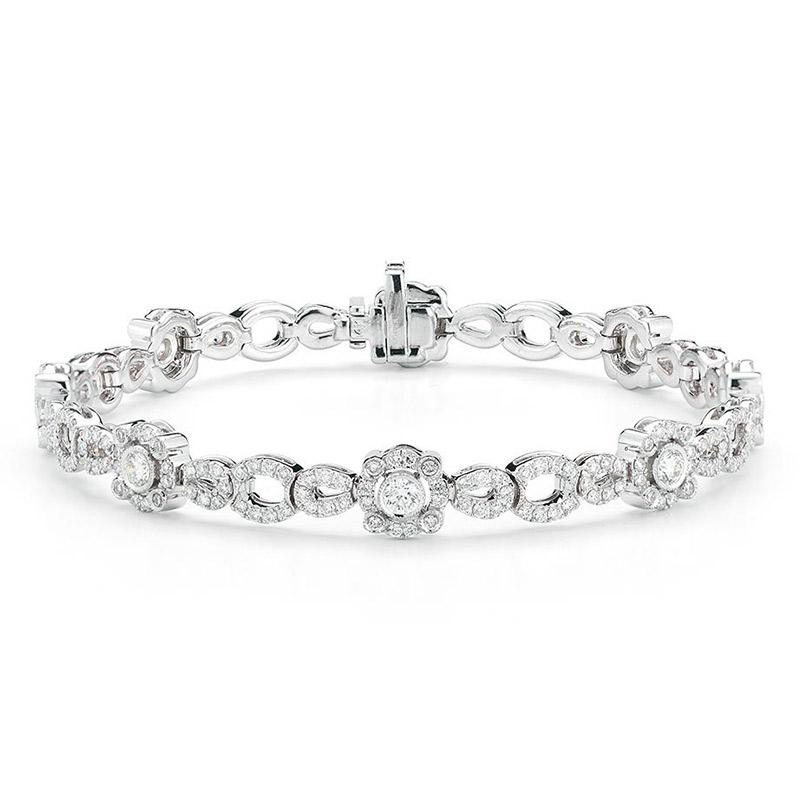 Deutsch Signature Diamond Open Link with Diamond Bezel Bracelet