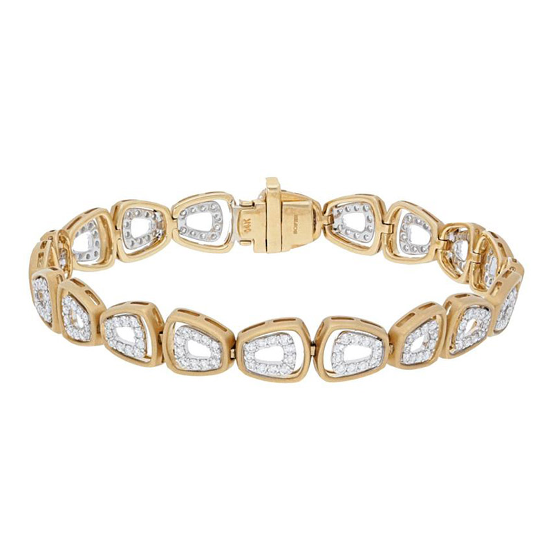 Deutsch Signature Alternating Diamond Shapes with Satin Gold Border Bracelet