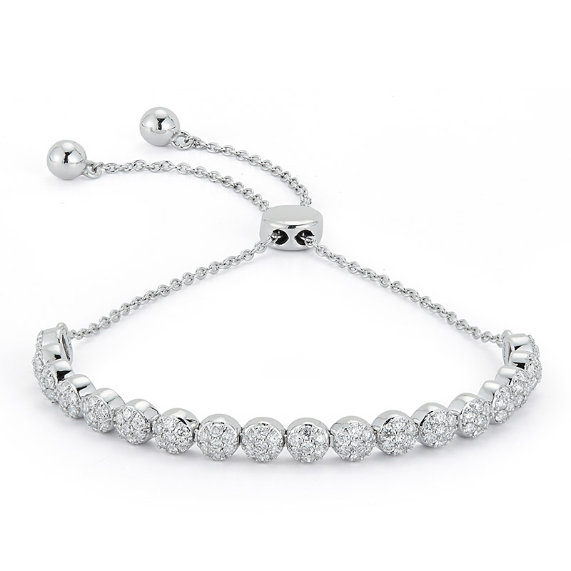 Deutsch Signature Pave Diamond Flower Bolo Bracelet