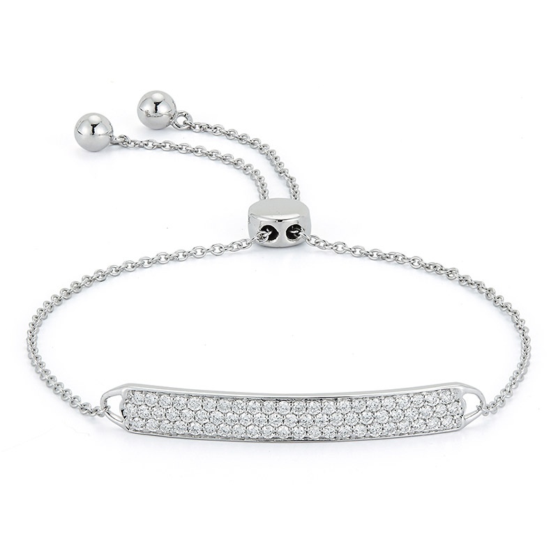 Deutsch Signature Pave Diamond Bar Bolo Bracelet