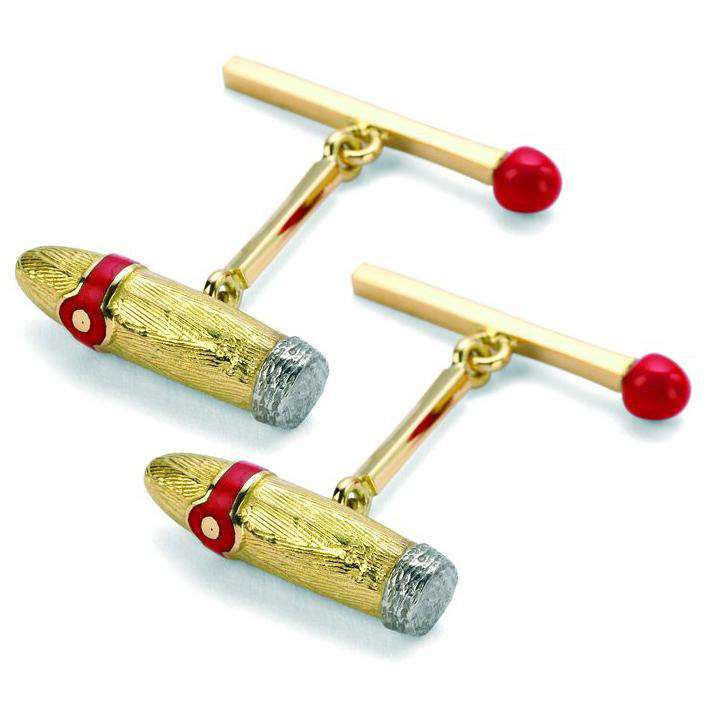 Deakin & Francis Yellow Gold Cigar And Matchstick Cufflinks