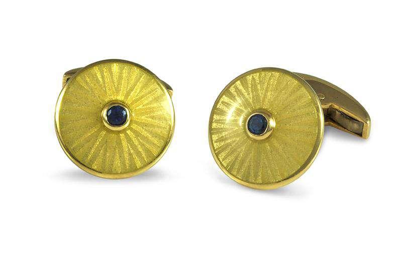 Deakin & Francis Yellow Gold Round Enamel Cufflinks