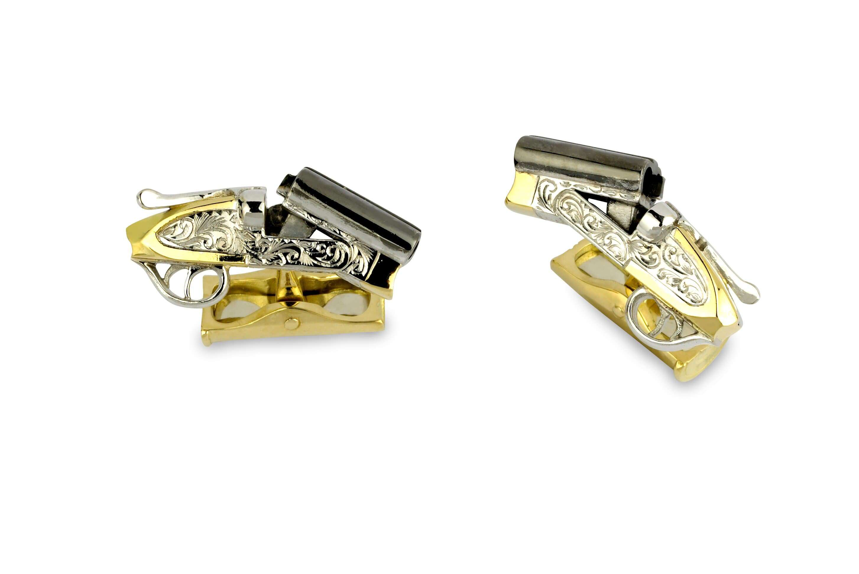 Deakin & Francis Yellow Gold Shotgun Cufflinks