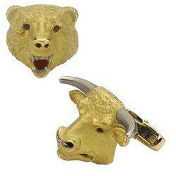 Deakin & Francis Yellow Gold Bull And Bear Cufflinks