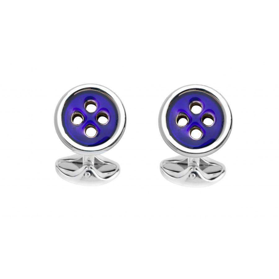 Deakin & Francis Navy Blue Button Cufflinks