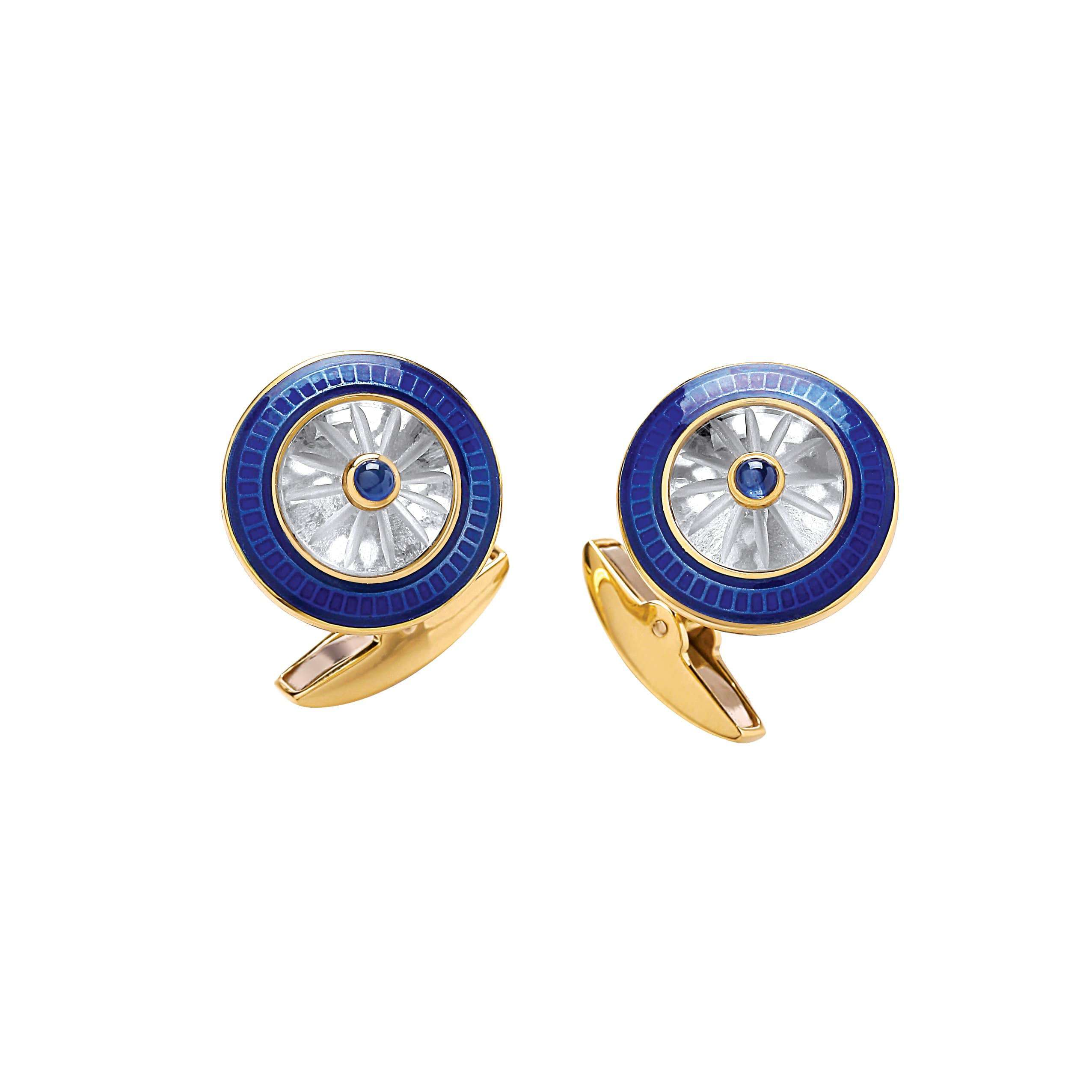 Deakin & Francis Yellow Gold Round Crystal Cufflinks