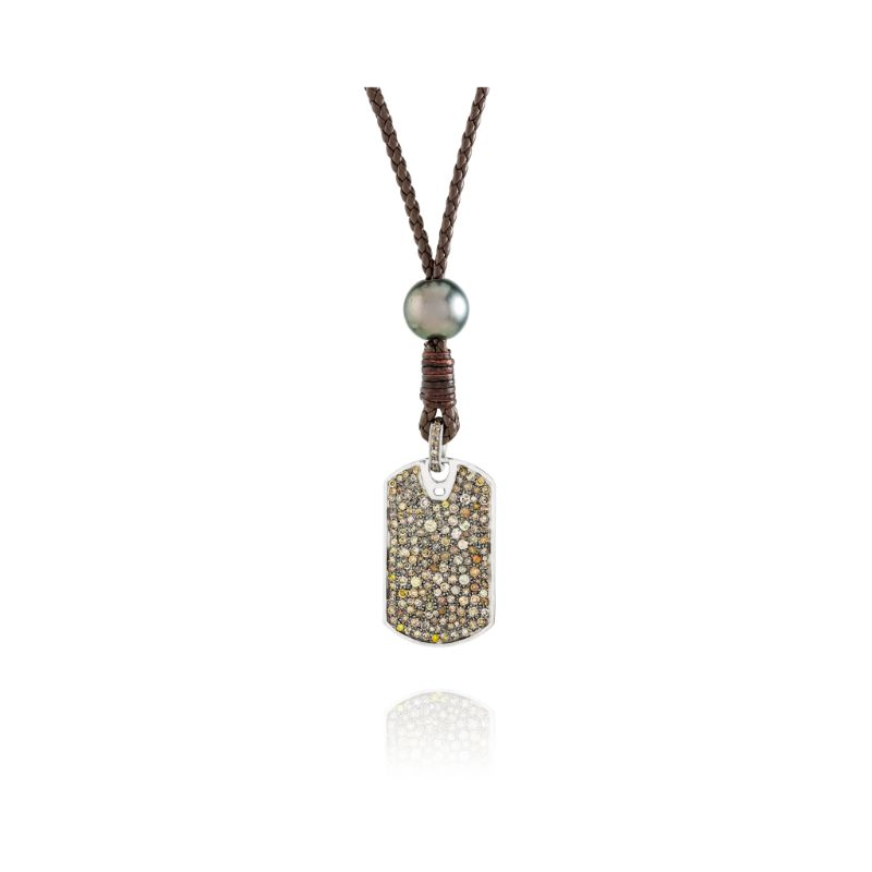 Vincent Peach Diamond Dog Tag Necklace