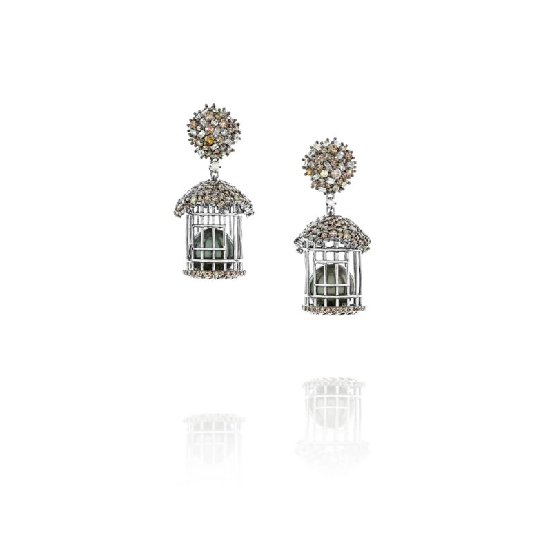 Vincent Peach Tahitian Pearl Bird Cage Earrings