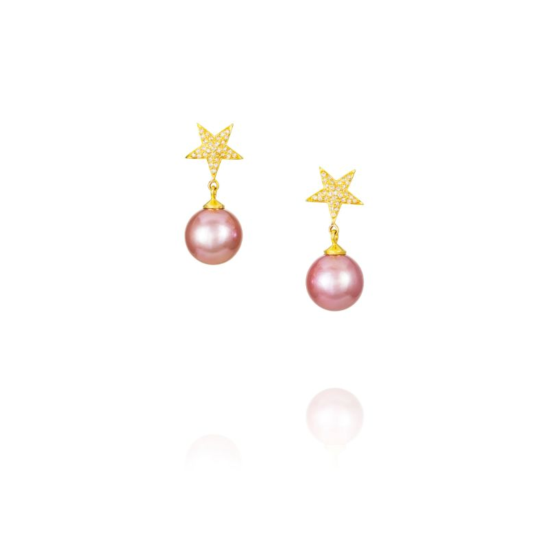 Vincent Peach Pink Pearl Star Earrings