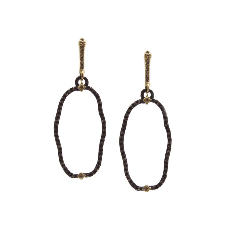 Pave Organic Open Oval Drop Champagne Diamond Earrings