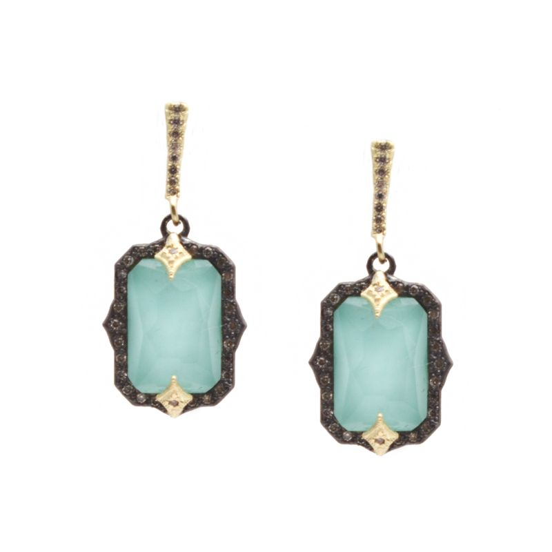 Old World Blue Turquoise/White Quartz Doublet Stones And Champagne Diamonds Crivelli Drop Earrings