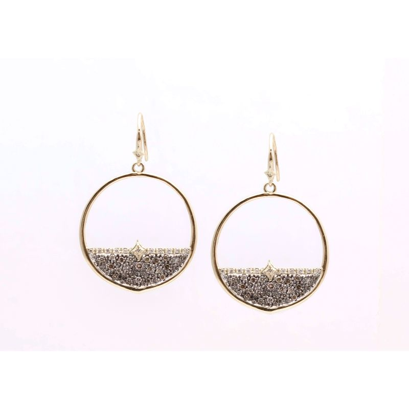 Old World Open Circle Half-Pave Earrings With White And Champagne Diamonds