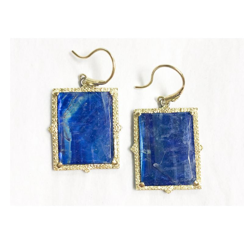 Old World Lapis/Rainbow Moonstone Doublet Stones And Diamonds Earrings