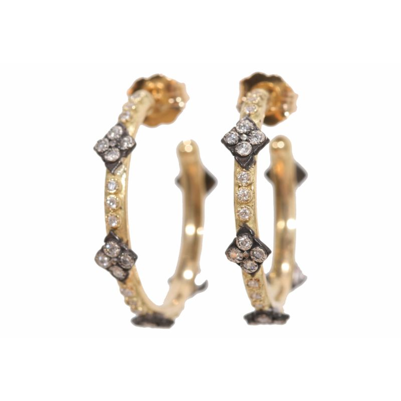 Old World Crivelli And Diamond Small Hoop Earring