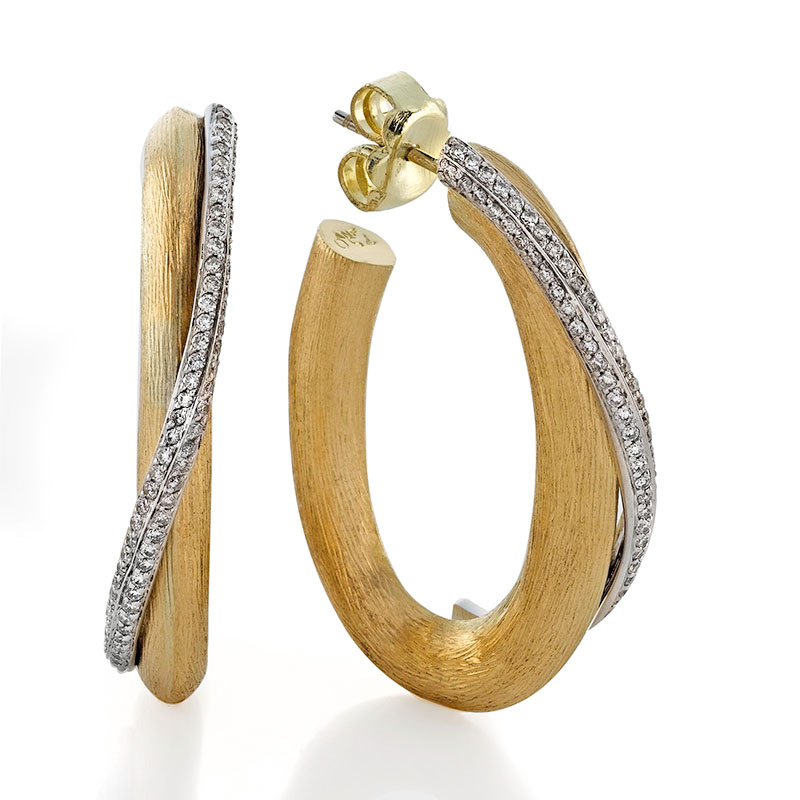 Rudolf Friedmann Gold Diamond Oval Hoops