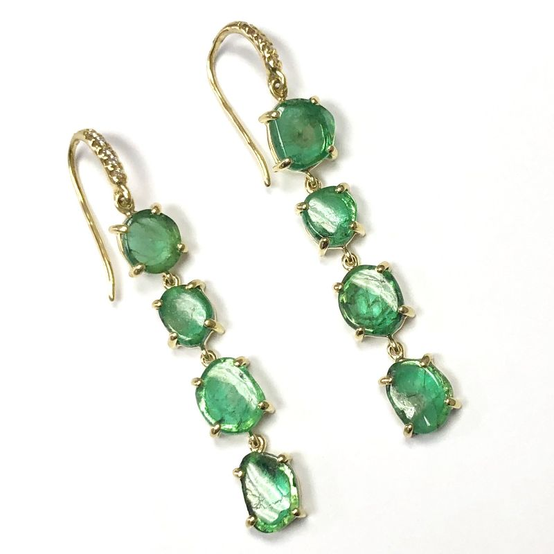 Lauren K Joyce Emerald Four Stone Earrings