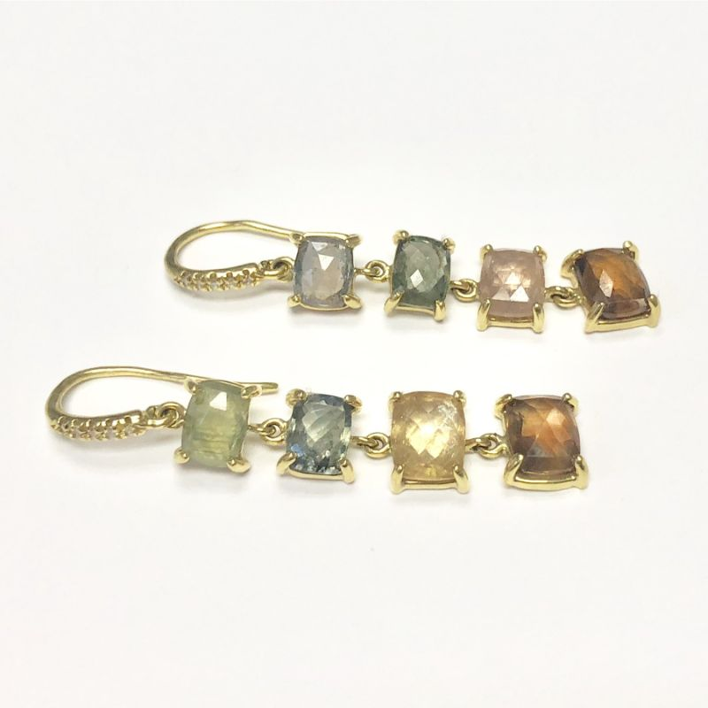Lauren K Joyce Multicolor Sapphire Four Stone Earrings
