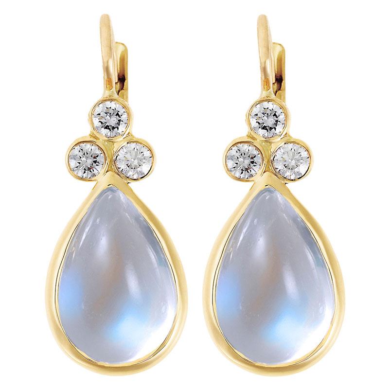 Temple St. Clair Diamond And Blue Moonstone Raindrop Earrings