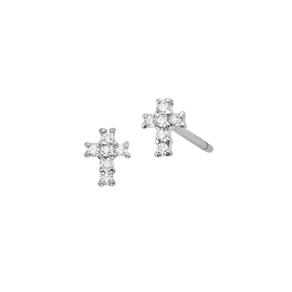 Deutsch Signature Diamond Cross Earring Single