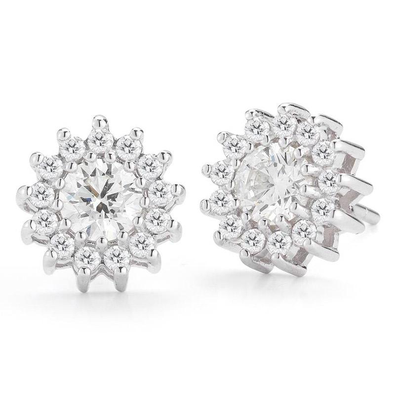 Deutsch Signature Round Diamond Flower Halo Stud Earrings