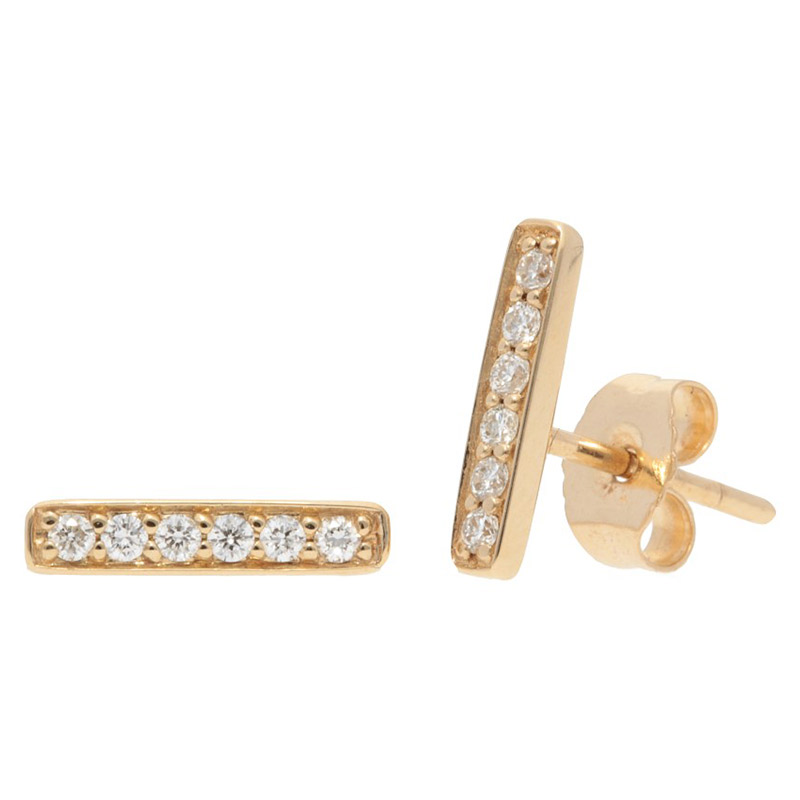 Deutsch Signature Pave Diamond Thin Bar Stud Earrings