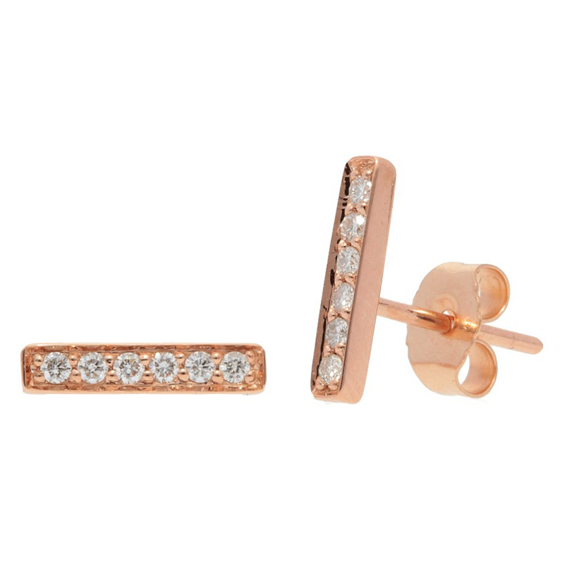 Deutsch Signature Pave Diamond Thin Bar Stud Earrings